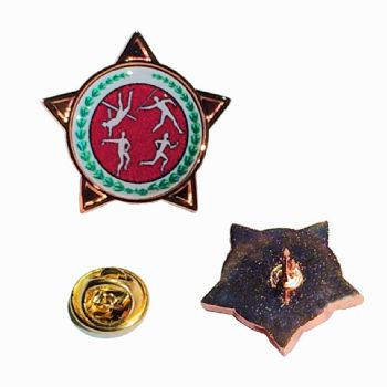 Superior Badge 18mm star brnz clutch and printed dome